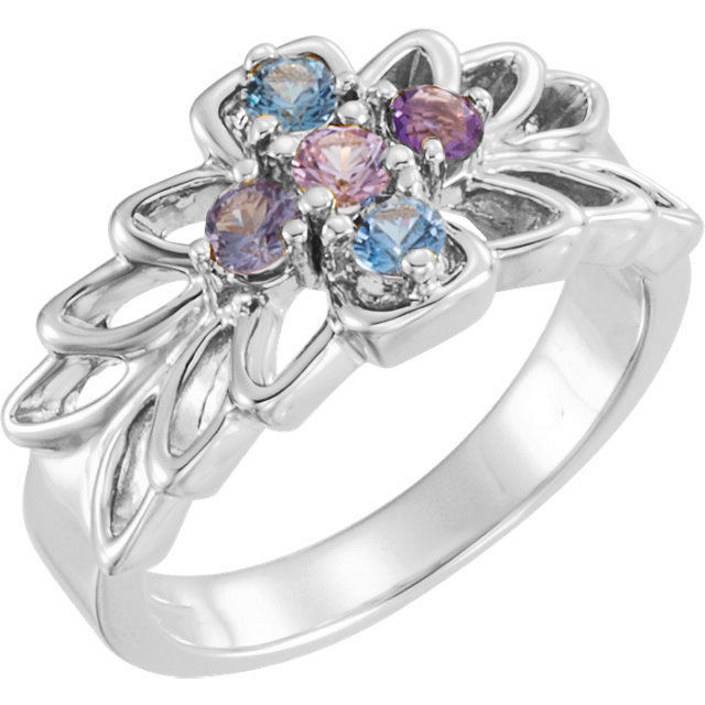 Picture of Silver 1 to 6 Round Stone Mother's Ring