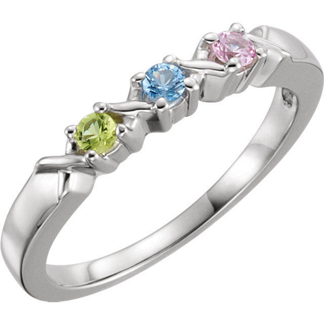 Picture of Silver 1 to 5 Round Stone Stackable Mother's Ring