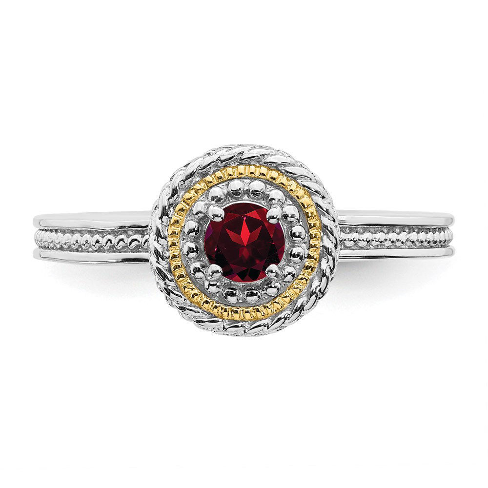 Picture of Silver Ring Round Garnet stone