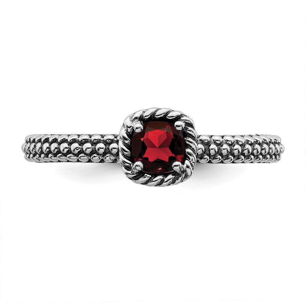 Picture of Silver Ring Checker-cut Garnet stone