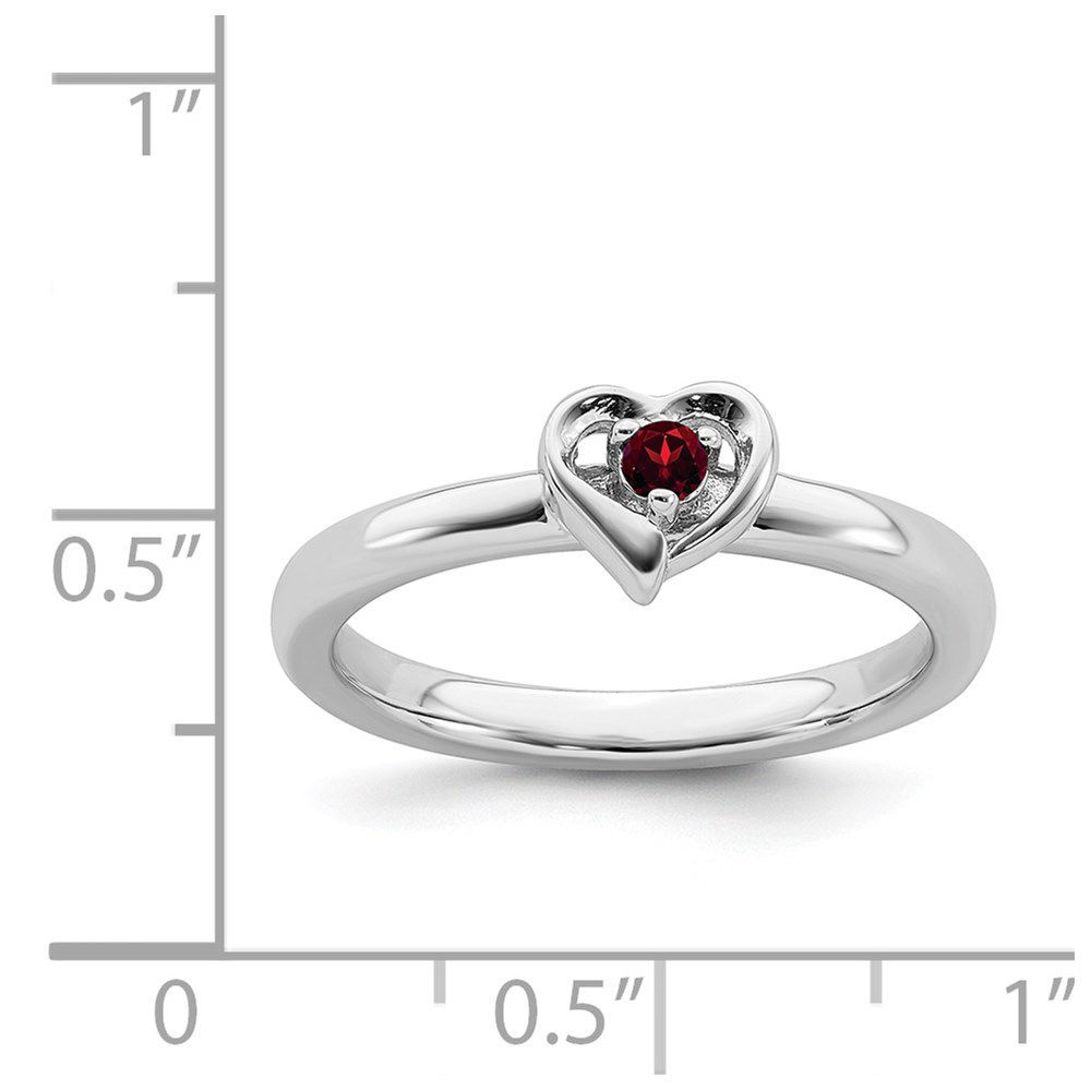 Picture of Sterling Silver Stackable Heart Ring Garnet Birthstone