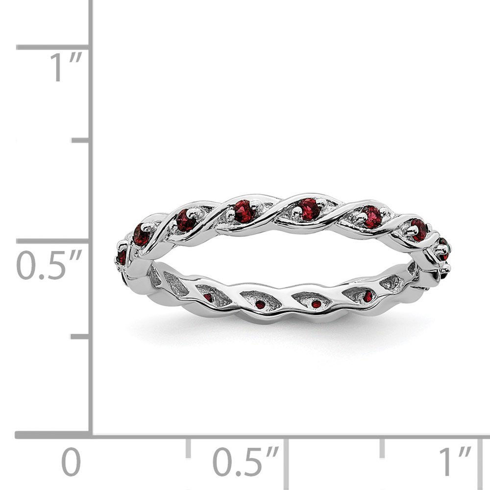 Picture of Sterling Silver Stackable Ring Garnet Birthstones
