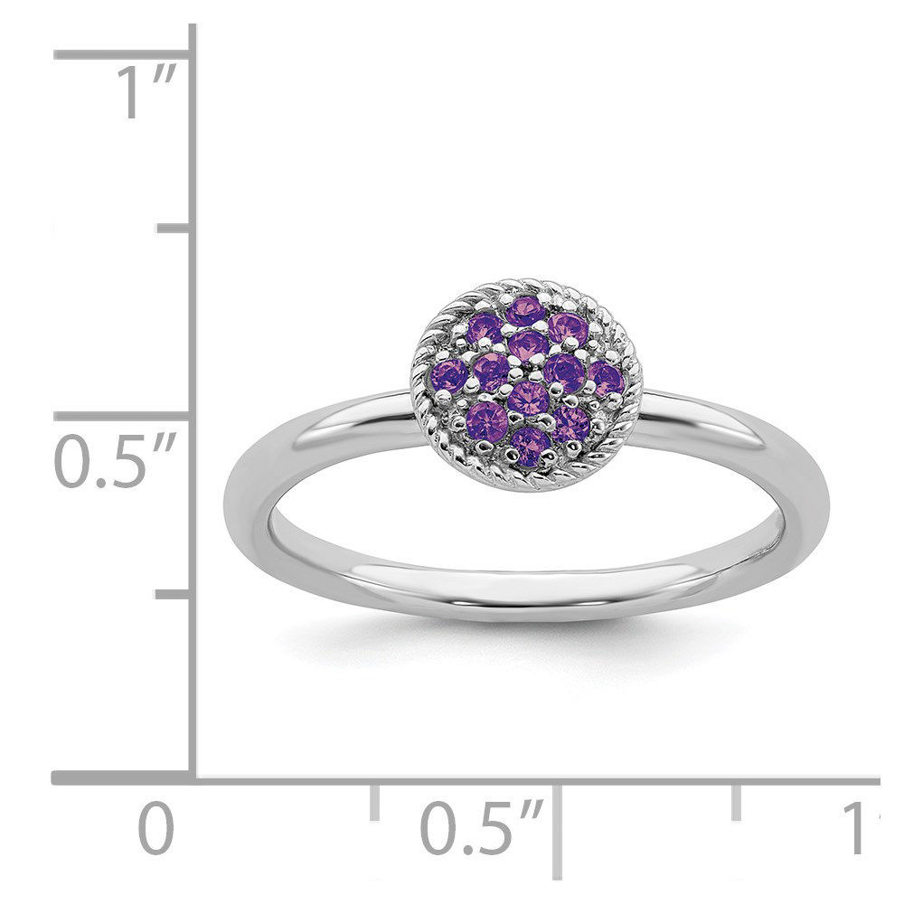 Picture of Silver Ring Round Genuine Amethyst stones