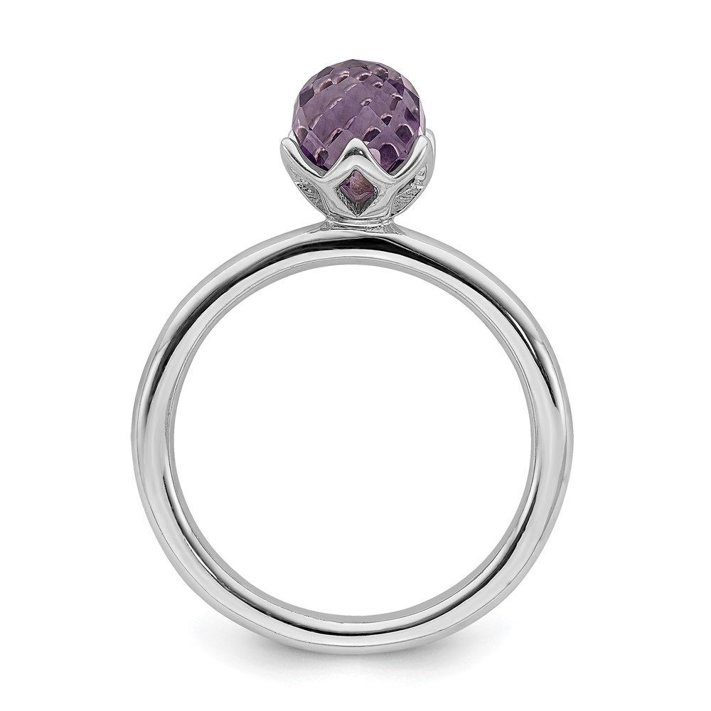 Picture of Silver Ring Briolette Genuine Amethyst stone