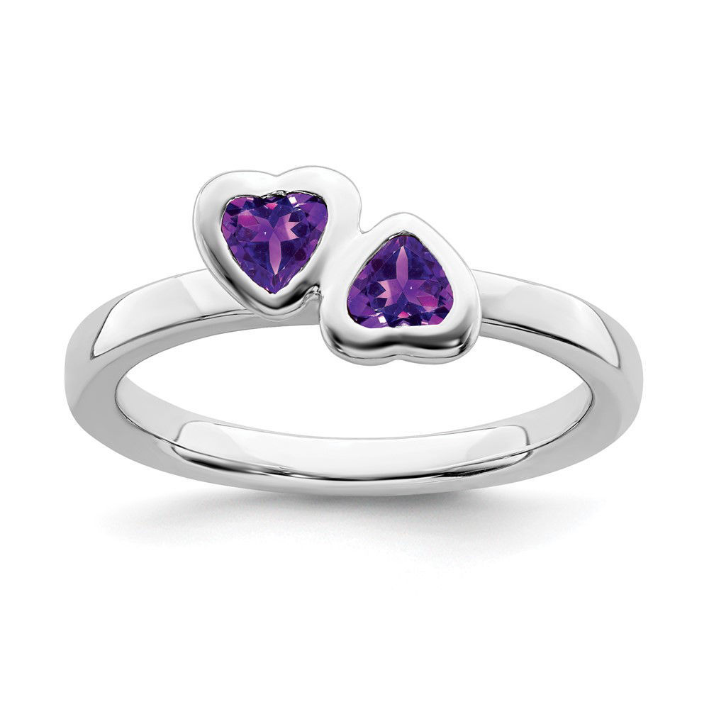 Picture of Silver Ring 2 Heart Amethyst Stones