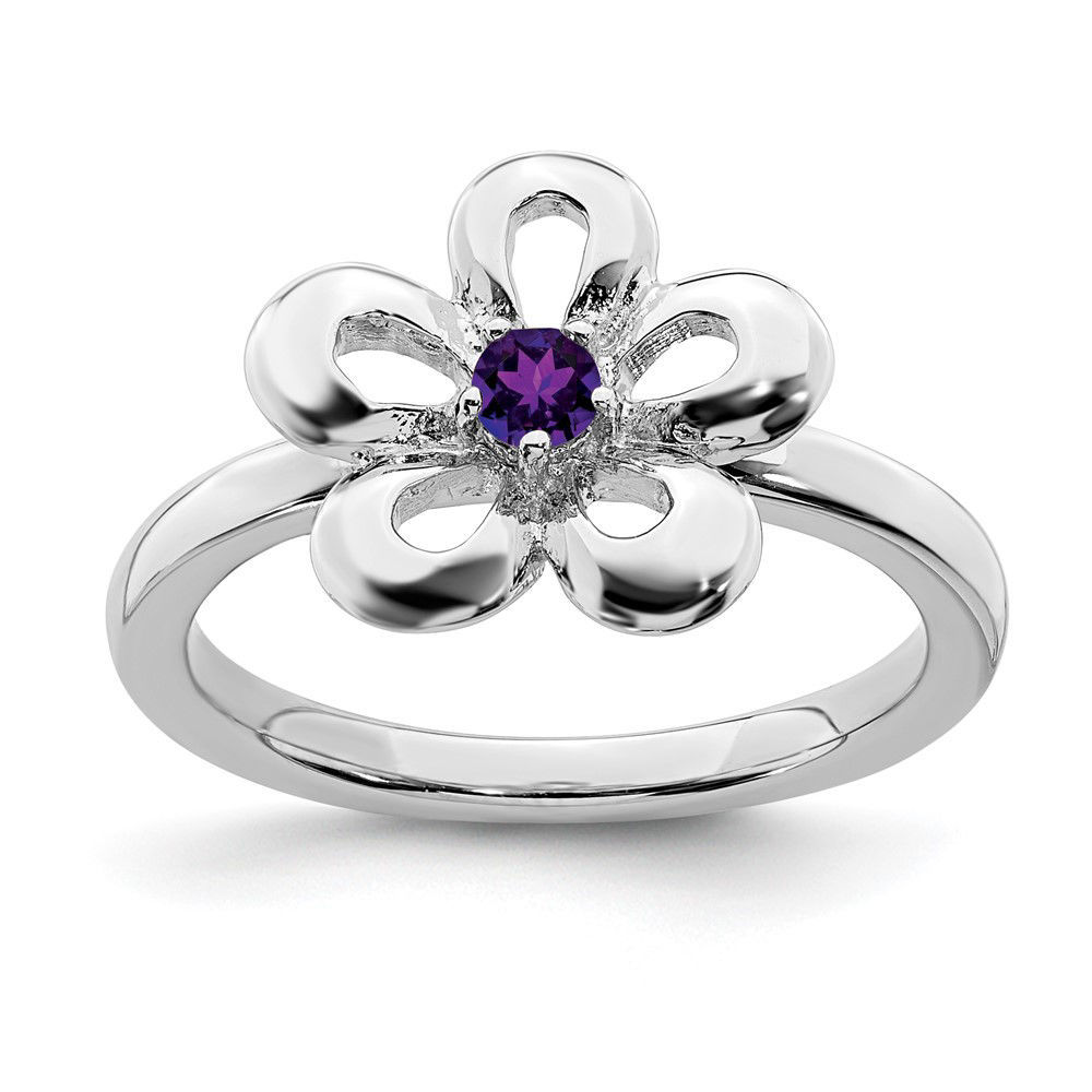 Picture of Silver Flower Ring Amethyst Stone