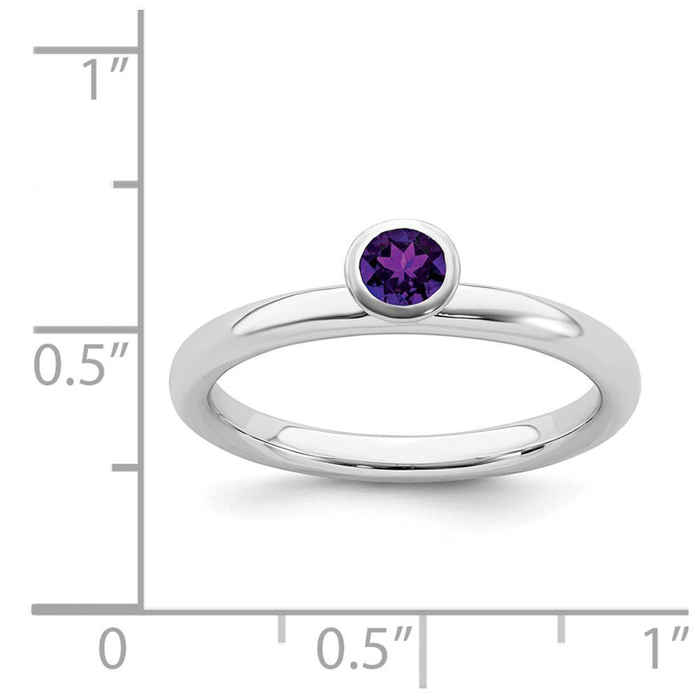 Picture of Silver Ring High Set 4 mm Amethyst Stone