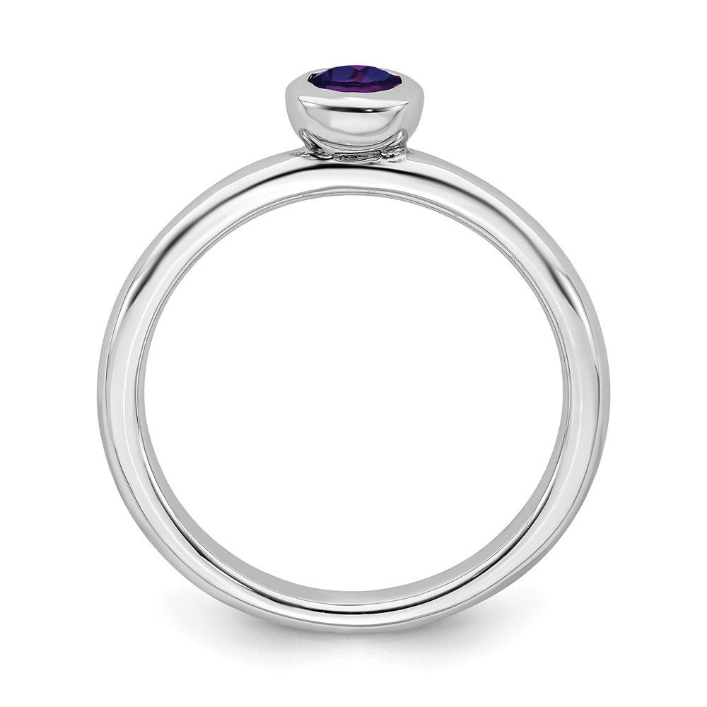 Picture of Silver Ring Low Set 4 mm Amethyst Stone