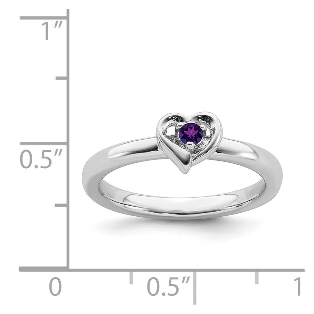 Picture of Silver Heart Ring Amethyst Birthstone